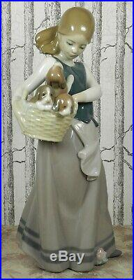 Rare Retired Lladro Nao 1311 Little Dogs On Hip With A Basket Of Puppies 1996