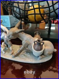 Rare Vintage Lladro Boy with Donkey and Dog 5178 Mint Condition Comes with Box