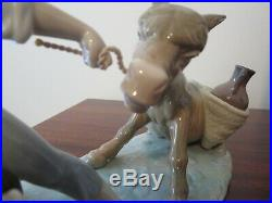 Rare Vintage Lladro Boy with Donkey and Dog Stubborn Donkey #5178