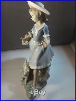 Rare Vtg Lladro Figurine Girl Skipping With Pony Tail Flower Basket Puppy Dog