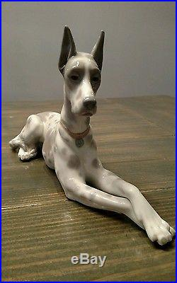 Rare large LLADRO Great Dane porcelain dog retired figurine made in spain