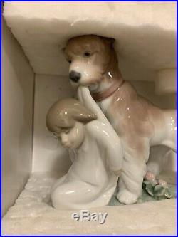 Retired LLADRO Spain Safe And Sound 6556 Puppy Dog Child Porcelain Figurine NIB
