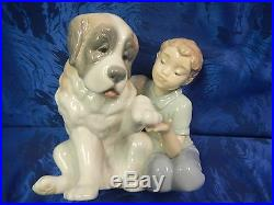 Retired Let Me Make It Better Boy And Dog Porcelain Fig Nao By Lladro #1577