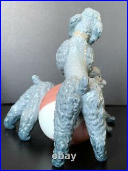 Retired Lladro 1258 Poodles Playing With Beachball Playful Dogs