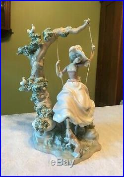 Retired Lladro # 1297 Victorian Girl On Swing Dog Excellent Condition Spain