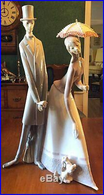 Retired Lladro 4563 Edwardian Couple With Parasol & Small Dog