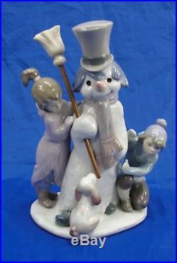 Retired Lladro #5713 The Snowman Children & Puppy Dog Porcelain Figurine 8 1/4