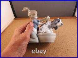 Retired Lladro Figurine 5455 Bashful Bather With Box Girl washing Dog In Tub 5