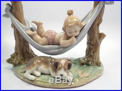 Retired Lladro Figurine #6853 Little Napmates, Boy Laying in Hammock with Dog