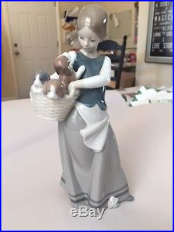Retired Lladro Figurine Little Dogs on Hip, Girl with Puppies #1311 1974-1996