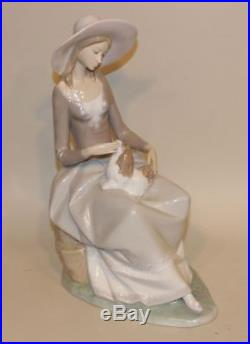Retired Lladro Large Figurine Girl Seated with Pekingese Puppy Dog on Lamp 4806
