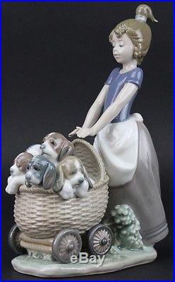 Retired Lladro Litter of Fun #5364 Girl Stroller K9 Puppy Dog Porcelain Figurine
