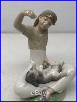 Retired Lladro Playtime With Petals Girl With Dog Porcelain Figurine #7711
