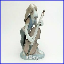 Retired Lladro Porcelain #1154'Dog Playing Base Fiddle' Figurine