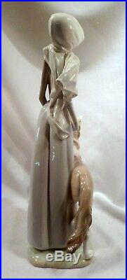 Retired Lladro Porcelain Figurine Lady with Borzoi and Folded Umbrella