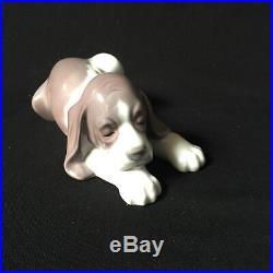 Retired Lladro Porcelain Sleeping Beagle Puppy Figurine 1991 Mint