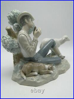 Retired Lladro Shepherd's Rest 12252G 11in Figure boy w pipes dog & sheep