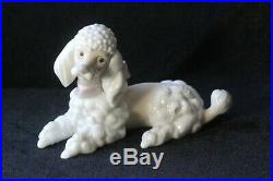 Retired Lladro Spain Poodle # 6337 Dog with Pink Bow Signed Porcelain Figurine