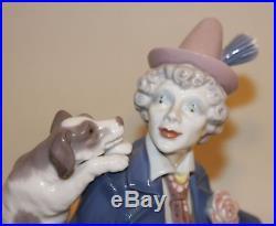 Retired Lladro Spain Porcelain Figurine Musical Partners 5763 Clown & Puppy Dog