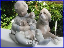 SALE! LLADRO DOG/PUPPY/CHILD FIGURINE #5456, Bisque Finish, 5 x 5.5, Ex Cond