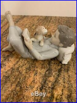 SHALL I READ YOU A STORY BOY AND DOG BY LLADRO #8034 with Original Box