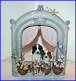 SIGNED Beautiful LLADRO 6502 Please Come Home Dogs Puppies Flowers Window