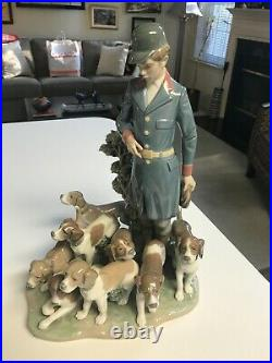 SUPERB RARE LARGE 12 3/4 Lladro #5342 PACK OF HUNTING DOGS FIGURINE Glazed MINT