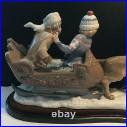 Salvador Debron Lladro Sleigh Ride Kids Dog Figurine 18.5 Long #5037 E4306