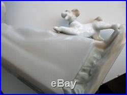 Signed by artist large Lladro figurine of duck and dog carer