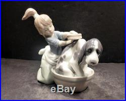 Spain Lladro Bashful Bather, 5455 Young Girl Giving Her Dog a Bath in a Tub-MINT