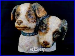 Superb 7.5 Lladro Gres Dogs Bust Figurine Hermanitos Perros 1977-79 Terrier Dog