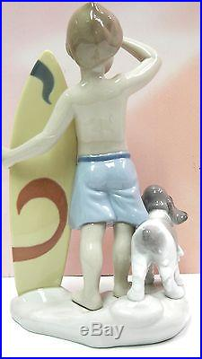 Surf's Up Boy With Surf Board And Dog Figurine By Lladro #8110