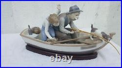 VINTAGE LLADRO #5215 FISHING With GRAMPS PORCELAIN FIGURINE BOY, DOG, BOAT, GRAMPS