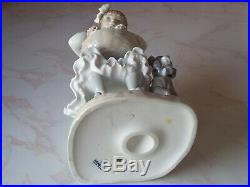 VINTAGE LLADRO FIGURINE GIRL WITH FLOWERS BASKET & DOG #1088 Issued 1970-1990