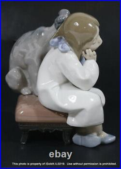VINTAGE LLADRO PORCELAIN FIGURINE #5706 WE CAN'T PLAY Girl & Dog + BOX