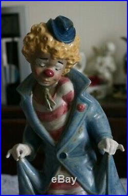 VINTAGE Lladro Figurine Gres Surprise Clown with Dogs, Spain