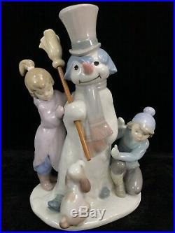 VTG LLADRO SPAIN #5713 THE SNOWMAN Porcelain FIGURINE Boy Girl Dog Christmas Art