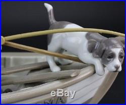 VTG LLADRO Spain Fishing With Gramps 5215 Boy Dog In Boat Porcelain Figurine LMH