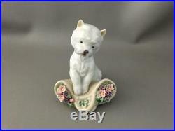 VTG LLADRO UTOPIA Playful Character WHITE PUPPIE DOG w FLOWER RETIRED FIGURINE