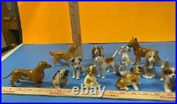 ViNTaGe Lot 12 Tiny Dog's Figurines Lladro Mortens Beswick Goebel Copenhagen ETC