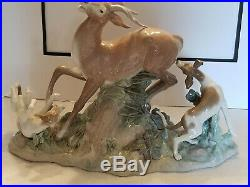 Vintage 1978 Retired Huge Lladro Porcelain Buck Hunters Deer Dogs Hounds