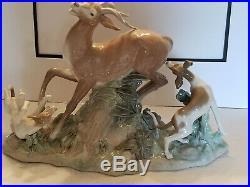 Vintage 1978 Retired Huge Lladro Porcelain Buck Hunters Deer Dogs Hounds #379