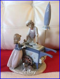 Vintage 1985 LLADRO ICE CREAM VENDOR #5325 Girl Dog MINT WITH UMBRELLA RETIRED
