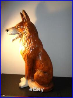 Vintage Ceramic Life Size Collie Dog Statue (30 by 20 by 10)