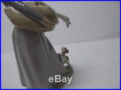 Vintage Estate Lladro #4866 Girl W Goose & Dog Porcelain Figurine Retired Nice