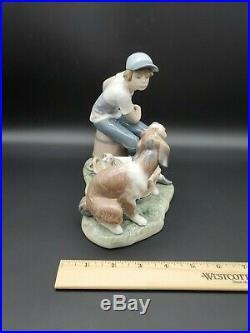 Vintage Estate Lladro 5376 This Ones Mine Porcelain Figurine Boy Dog & Puppies