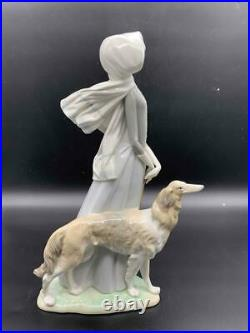 Vintage Lladro 15.5 Lady With Grey Hound Dog Parasol Figurine Original Box MINT