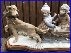 Vintage Lladro 5037 Sleigh Ride Large Porcelain Figurine Dog Pulling Sled Mint