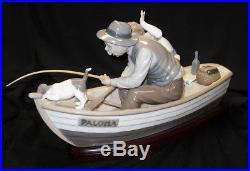 Vintage Lladro #5215 Fishing withGrandpa Porcelain Figurine Boy, Dog, Boat, Gramps