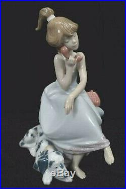 Vintage Lladro Chit-Chat Girl Figurine on phone with Dalmatian dog #5466